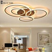 Araña Led moderna montada en superficie para sala de estar, dormitorio, comedor, cocina, Lustre, círculos, iluminación Led de araña de techo
