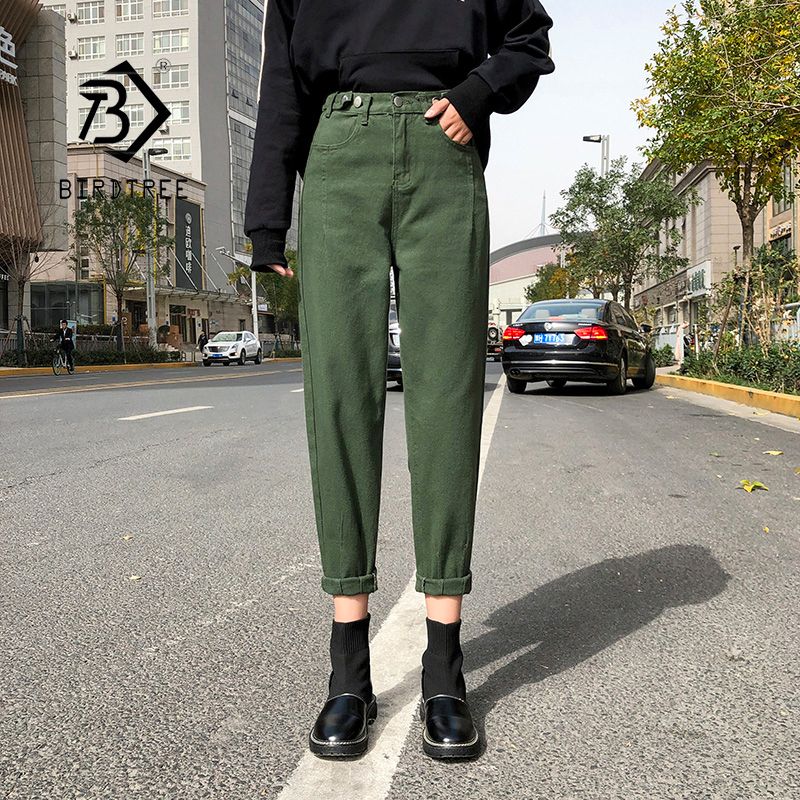 2020 Spring New Vintage High Waist Slouchy Green Cotton Mom Jeans Denim Harem Pants For Women Autumn Casual Ripped Trousers B016
