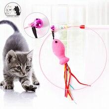Brinquedos interativos do gato pena sino varinha teaser haste engraçado peixe forma sino grânulo jogar varinha de estimação brinquedo fio de aço pena gato brinquedo teaser