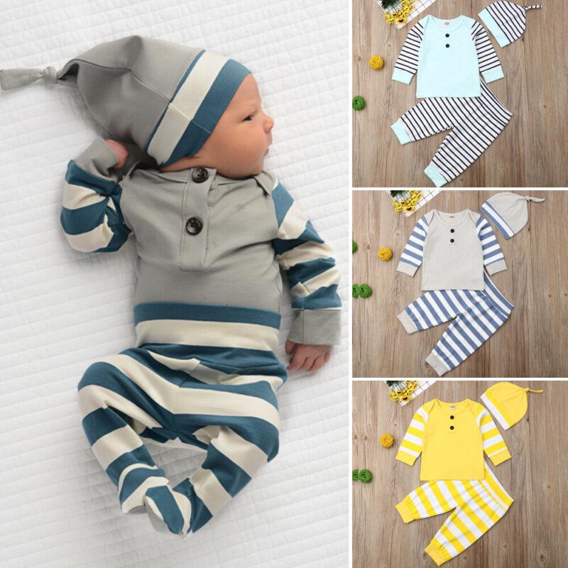 UK Newborn Infant Baby Boy 0-24M Stripe Outfit Clothes T-Shirt Tops+Pants+Hat Set