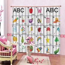 English alphabet curtain for Children's room Fruit photo blackout drapes curtains(China)