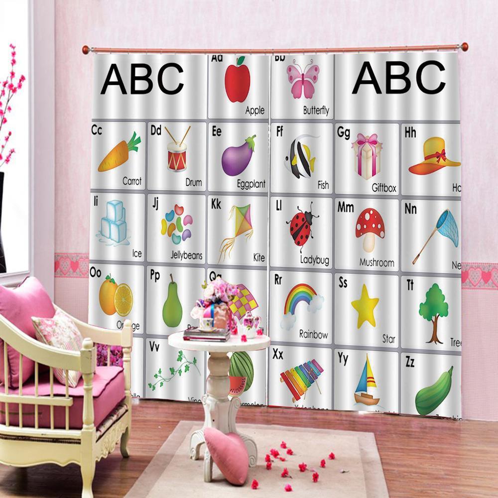 Rideau alphabet anglais pour chambre d'enfant Fruit photo rideaux occultants rideaux