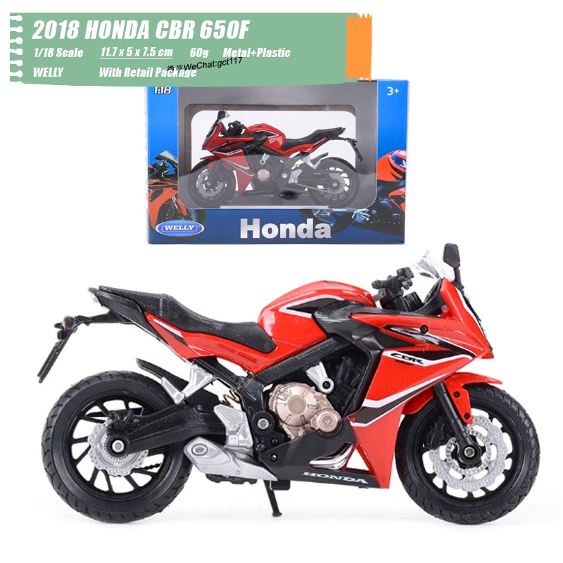 WELLY 1/18 Scale Classic Motorbike Series 2018 HONDA CBR 650F Diecast Metal Motorcycle Model Toy For Gift,Kids,Collection