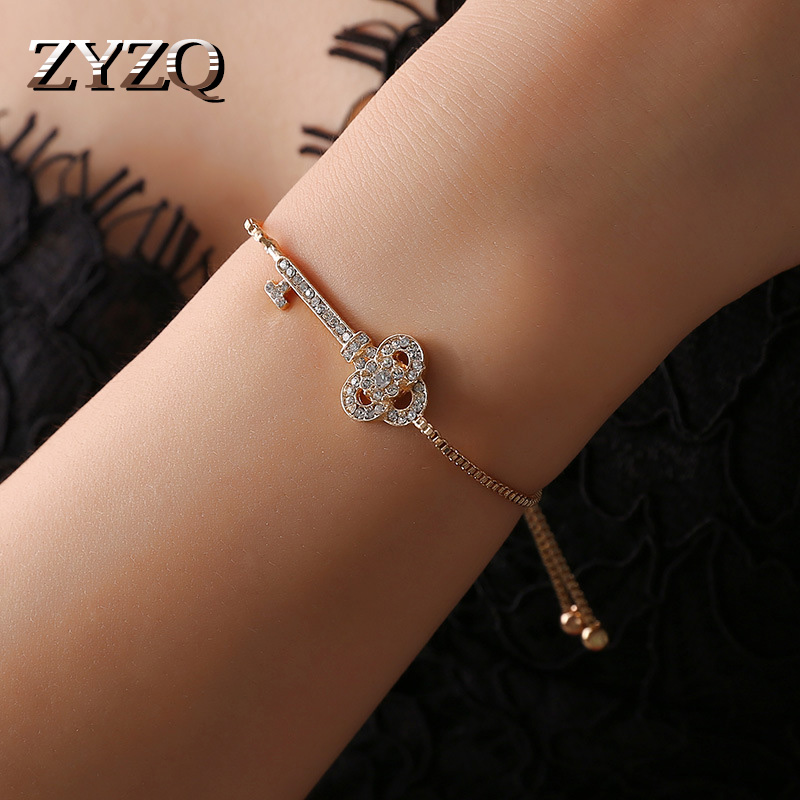 ZYZQ Elegant Geometric Romantic Key Shaped Bracelets For Women Lovely Adjustable Accessories Jewelry With Micro Paved Bracelets image