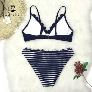 Image 4 - CUPSHE Cute Navy Blue Scalloped and Stripe Bikini Sets 2020 Women Solid Mid  waist Two Pieces Beach Bathing Suits Swimwear