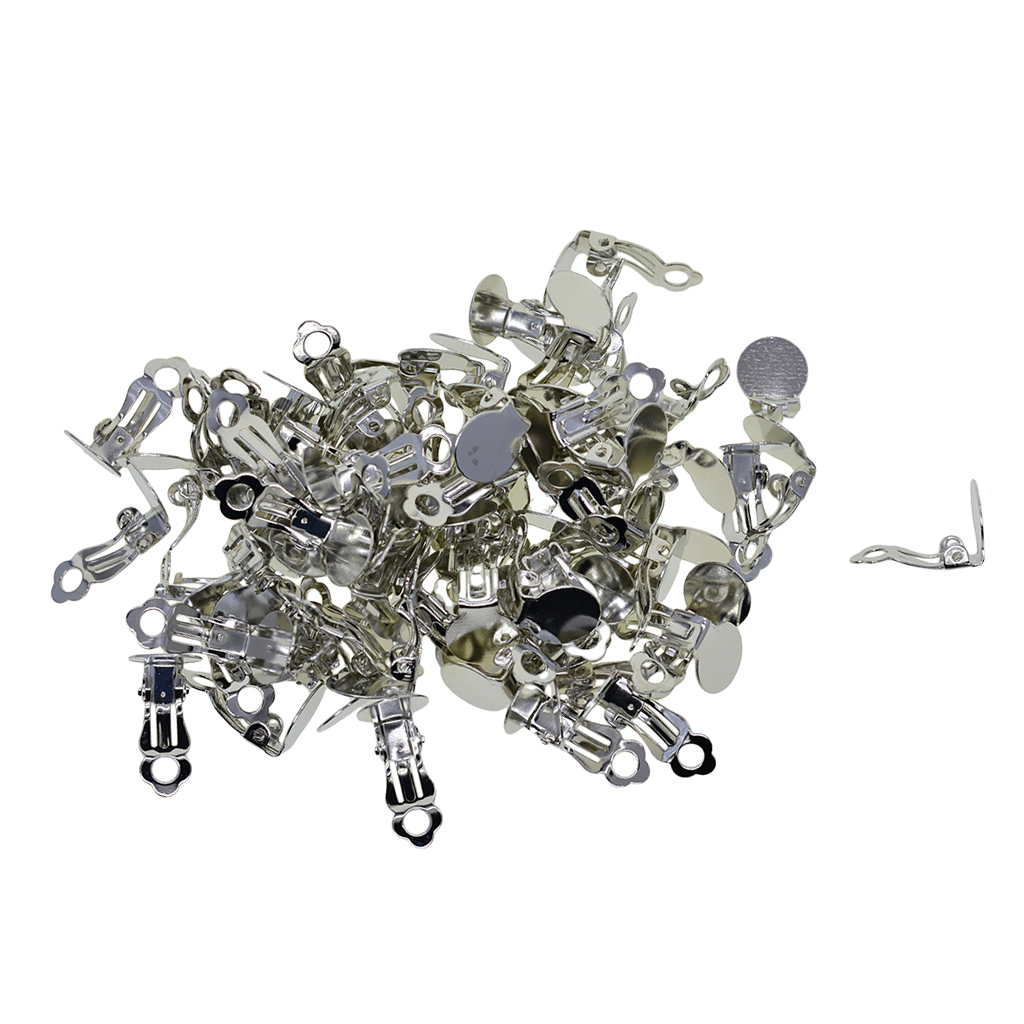 50 Pairs Filigree Silver Earrings Ear Clip Hook for Earring Making Crafts Findings Jewelry Making Supplies