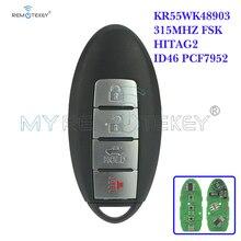 Remtekey 315MHZ FSK HITAG-2 ID46 PCF7952 For Infiniti KR55WK48903 Smart Remote Key Fob 4 Buttons Remote Key Keyless 2 1 buttons smart keyless remote car key fob 315mhz for hyundai elantra tucson santa fe 3 buttons replacement key transmitter
