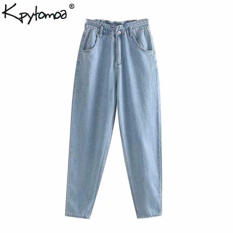 Vintage Stylish Basic Paperbag Jeans Women 2020 Fashion High Elastic Waist Side Pockets Ladies Denim Pants Casual Jean Femme