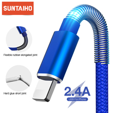 Suntaiho USB кабель пружинный кабель для iPhone 11 Pro Max XR XS X 8 7 6 Plus 2.4A Быстрая зарядка кабель для передачи данных провод Шнур адаптер