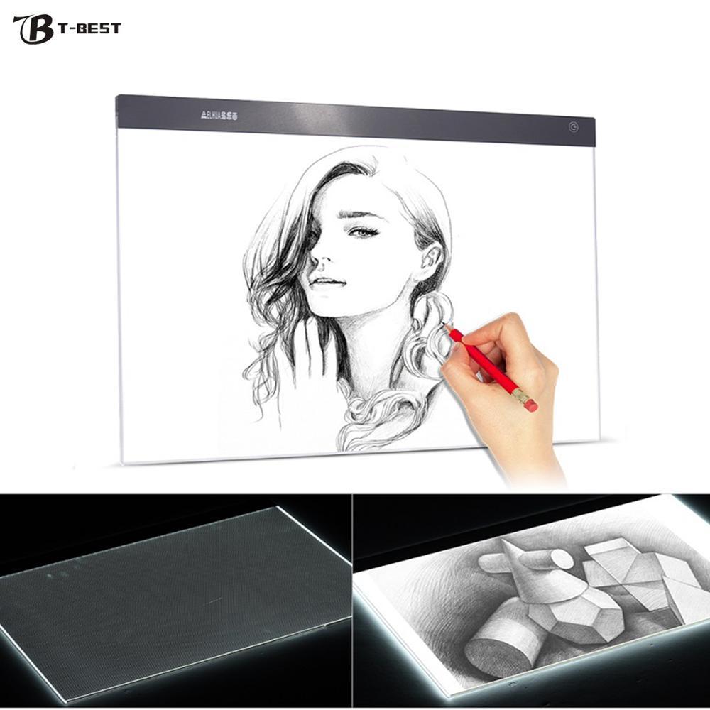 A2 ultra-fino led caixa de almofada de luz pintura rastreamento painel placa de cópia stepless para desenhos animados tatuagem rastreamento desenho x-ray visão