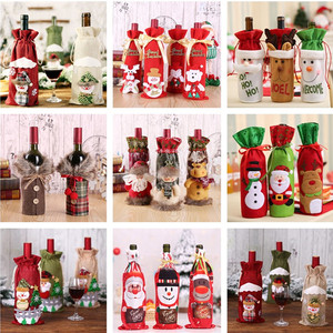 Image 5 - 2021 חדש שנה מתנה סנטה קלאוס יין בקבוק אבק כיסוי חג המולד נואל חג המולד קישוטים לבית Navidad 2020 ארוחת ערב שולחן דקור