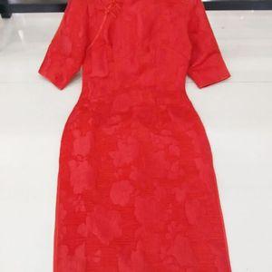 Image 4 - 2019 נוטה Cheongsam כותנה ישירה חדשה סתיו התיכון שרוול הדפסת בינוני ארוך אופנתי כלה חתונה טוסט