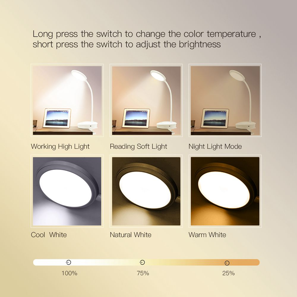 Portable desk lamp rechargeable dimmable table lamp clip light for reading desk bedroom living room battery operated book light(China)
