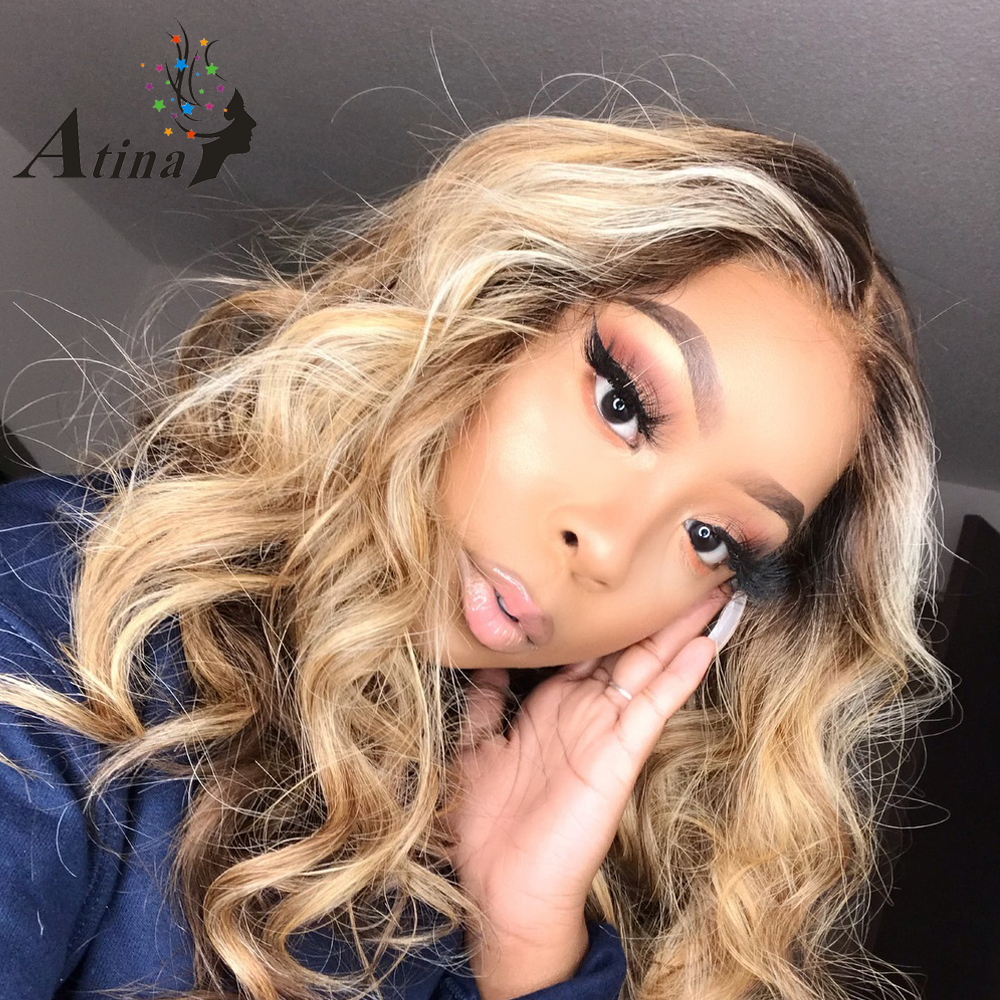 13x6 Lace Front Human Hair Wigs Brown And Blond Highlight Colored Lace Frontal Wig  Brazilian Remy Pre Plucked Natural Hairline