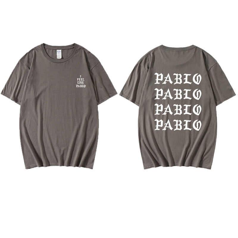 카니 예 웨스트 파블로 T 셔츠 남성 폴 느낌 프린트 반팔 안티 시즌 3 티셔츠 힙합 사회 클럽 랩퍼 티 탑스