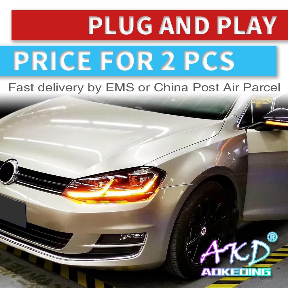 AKD Tuning Cars Headlight For VW Golk7 Golf 7 MK7 Headlights LED DRL Running Lights Bi-Xenon Beam Fog Lights Angel Eyes Auto