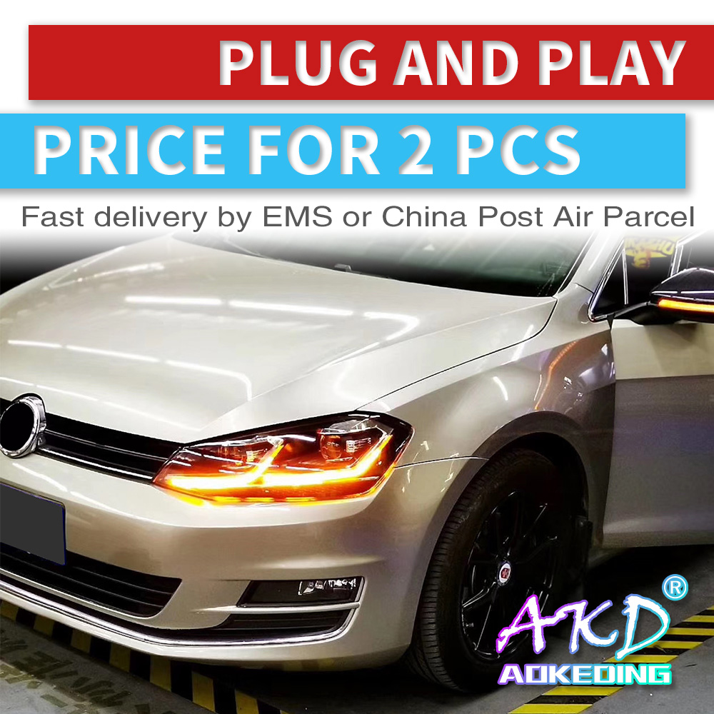 AKD tuning cars faro para VW Golk7 Golf 7 MK7 faros LED DRL luces de carrera bi-xenon Beam faros de niebla tipo Ojos de Ángel Auto