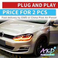 AKD tuning cars reflektor do VW Golk7 Golf 7 MK7 reflektory LED DRL światła do jazdy bi-ksenonowe wiązki światła przeciwmgielne anielskie oczy Auto