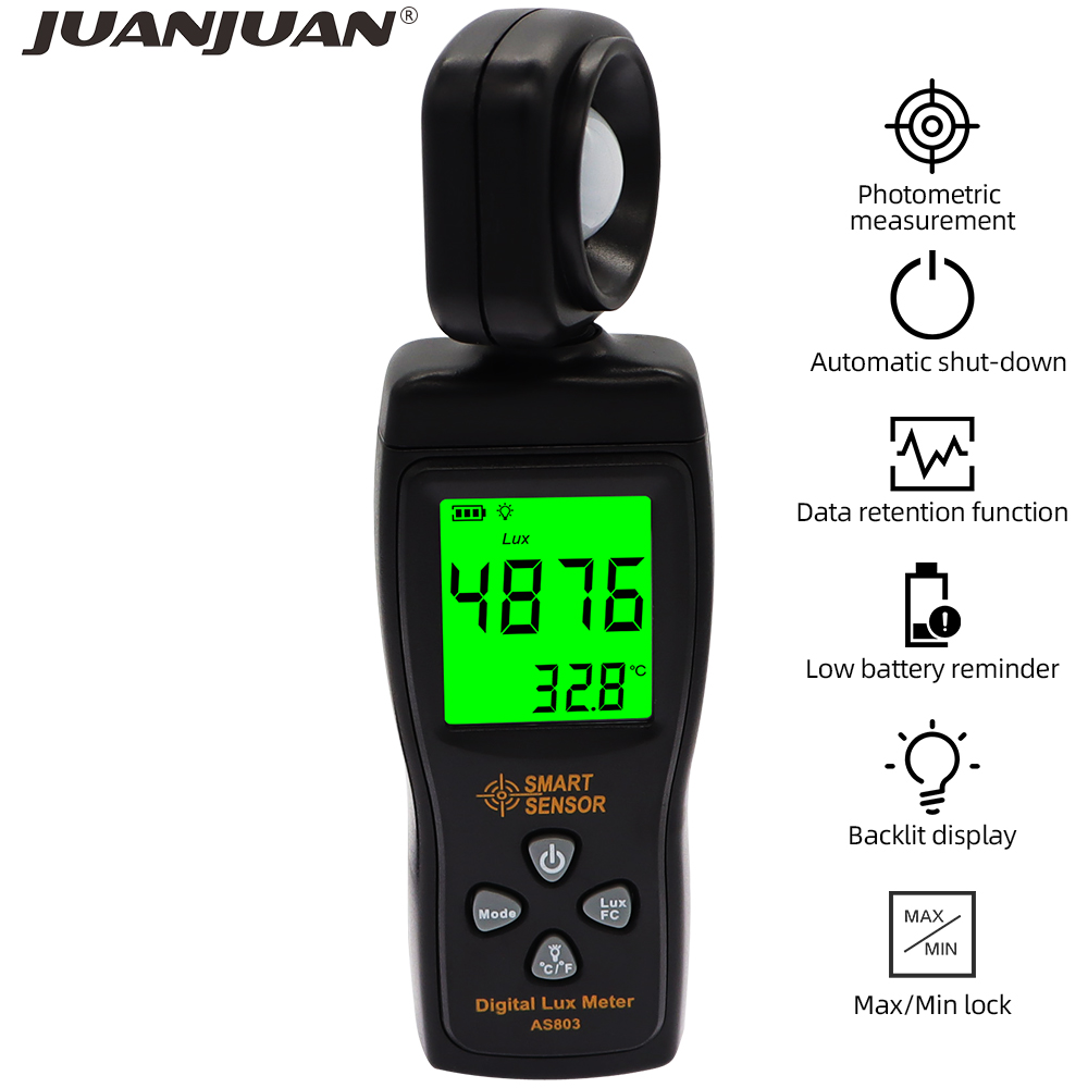 Цифровой светильник Luxmeter, измеритель люкс, 200000 люкс, УФ радиометр, ЖК дисплей, измеритель освещенности, AS803|Блескомеры|   | АлиЭкспресс