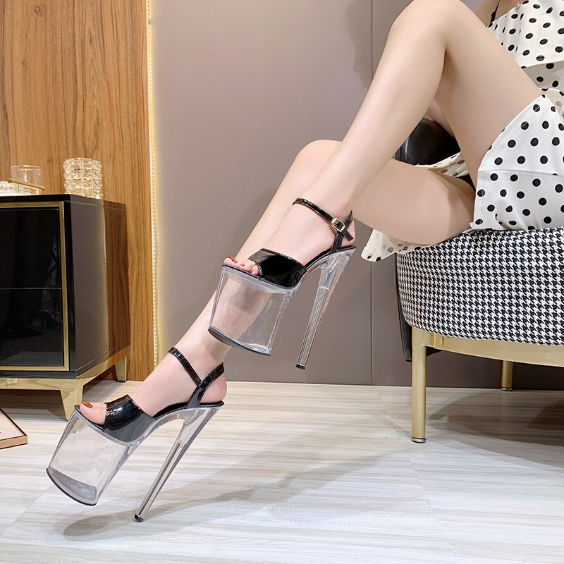 Shoes Women Sandals Model Fashion Show 20cm Sexy High Heels Patent leather Transparent Crystal Stripper Shoe Platform Clear heel