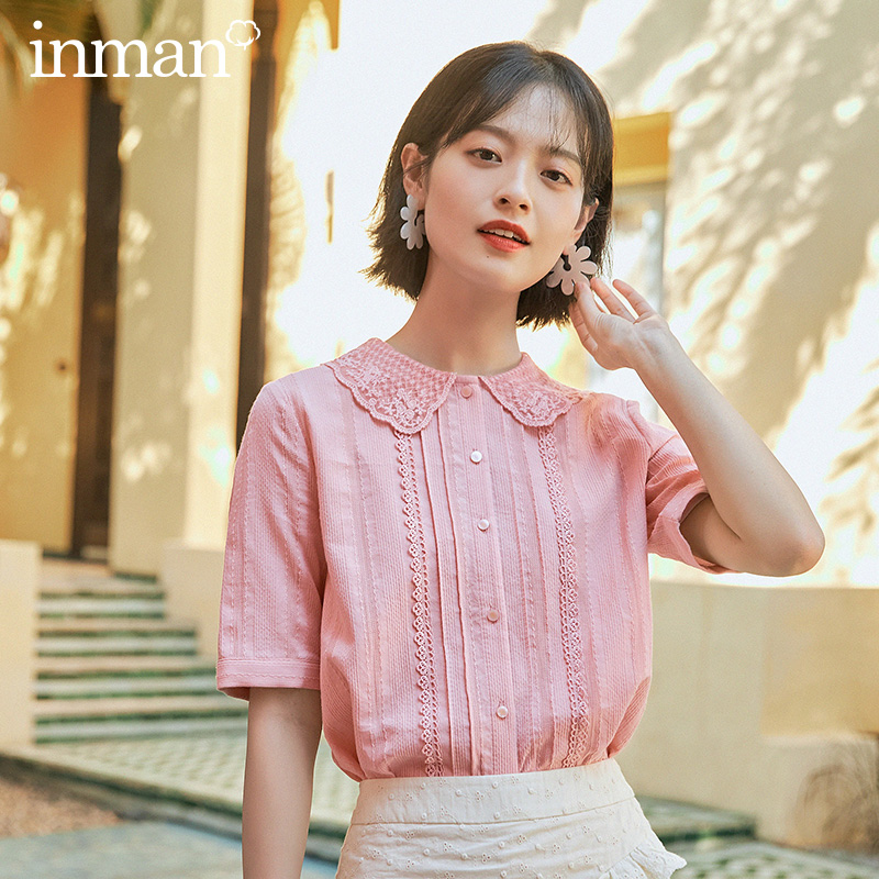 INMAN 2020 Summer New Arrival Literary Cotton  Lace Peter Pan Collar Stripe Texture Half Sleeve Blouse
