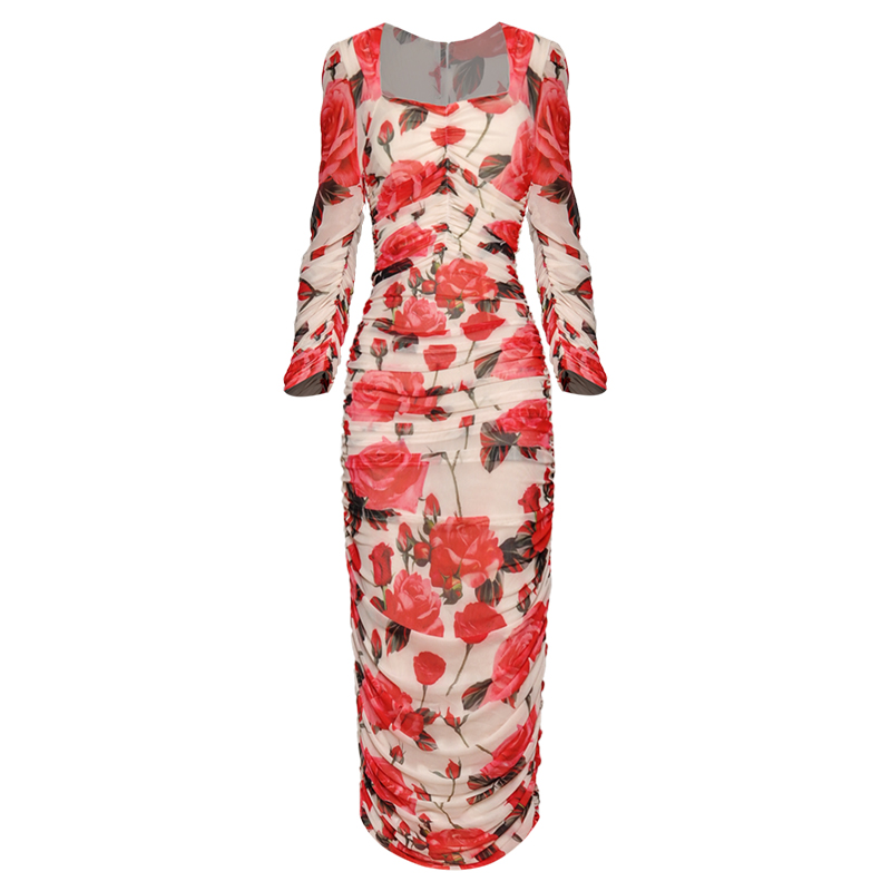 Red RoosaRosee Floral Print Sexy Sheath Dress Women Half Sleeve Square Collar Midi Dresses Female 2019 Autumn Fashion Bodycon