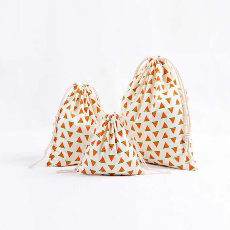 3 Pack Trekkoord Katoenen Boodschappentassen Leuke Vruchten Gedrukt Dagelijks Opslag Tassen Voor Vrouwen Kids Kerst Snoep Sieraden Organizer