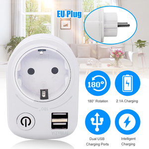 5V 2.1A Electric Dual USB Charger Adapter Intelligent Plug-in Wall Socket Charging Power Switch Outlet Home Travel