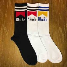 RHUDE chaussettes hommes femmes hip hop Rhude tube chaussettes collège vent Rhude sauvage doodle chaussettes(China)