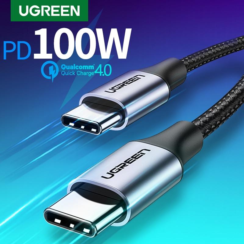 Ugreen USB C к USB Type C для Samsung S20 PD 100 Вт 60 Вт кабель для MacBook iPad Pro Quick Charge 4,0 USB-C кабель для быстрой зарядки USB