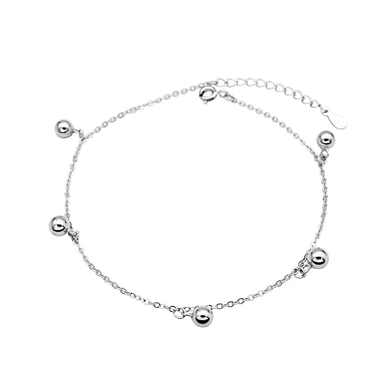 ZOBEI Minimalist 925 Sterling Silver Round Beads Anklet For Women Round Geometric Metal Chain Fine Jewelry Party Birthday Gift