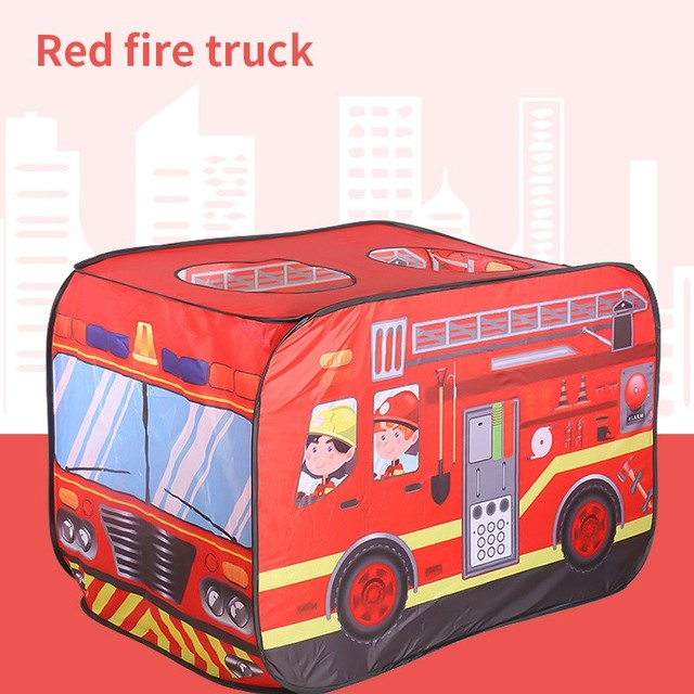 Children's Toy Hut Play Tent Firefighter Policemen Pretend Play Fire Truck/Police Car Design Kids Gamehouse Easy Fold Playhouse