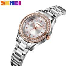 Skmei лучшие брендовые Модные женские кварцевые часы Стразы