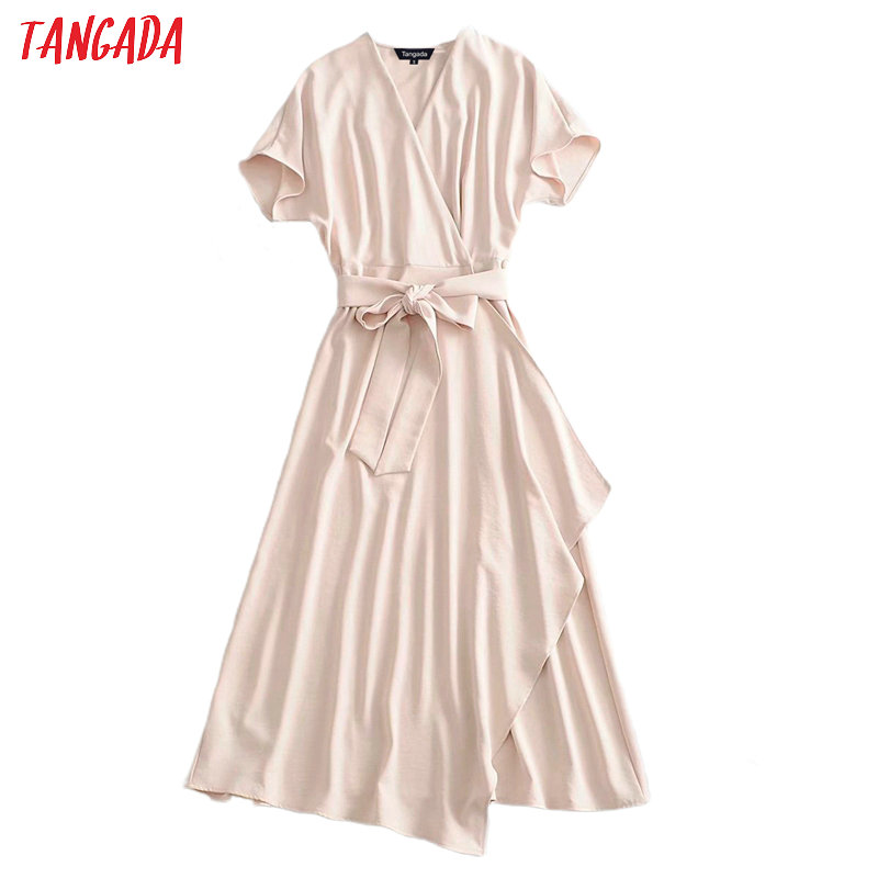 Tangada Fashion Women Solid Beige Elegant Dress With Slash Short Sleeve Office Ladies Work Midi Dress Vestidos 3A30