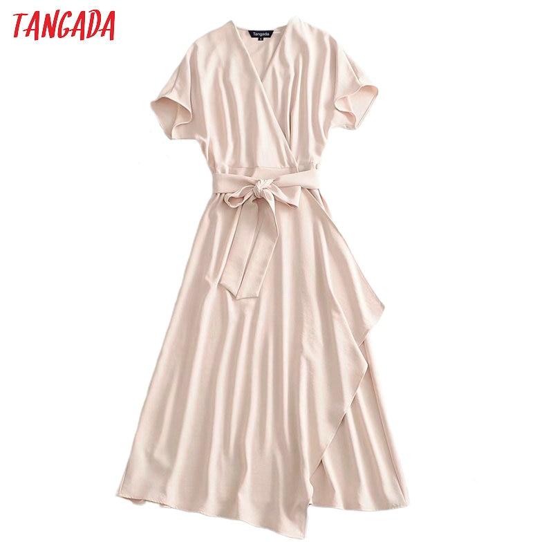 Tangada Fashion Women Solid Beige Elegant Dress With Slash Short Sleeve Office Ladies Work Midi Dress Vestidos 3A30