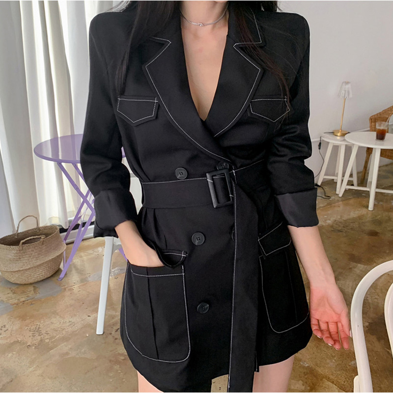Drop Shipping Long Women Blazer Autumn Double-breasted Sashes Belt Office Ladies Suit Outerwear Casual Work Female Blazer Coat