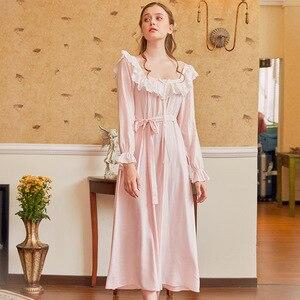 Image 1 - Pamuk Nightgowns Sleepshirt uzun elbise bahar kıyafeti uzun kollu pijama pijama kadınlar Vintage gecelik hamile kadın