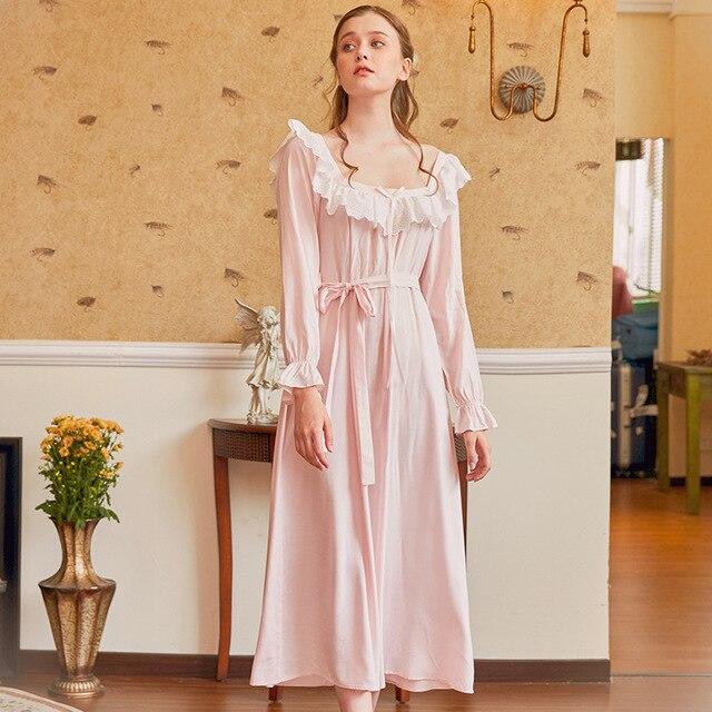 Pamuk Nightgowns Sleepshirt uzun elbise bahar kıyafeti uzun kollu pijama pijama kadınlar Vintage gecelik hamile kadın