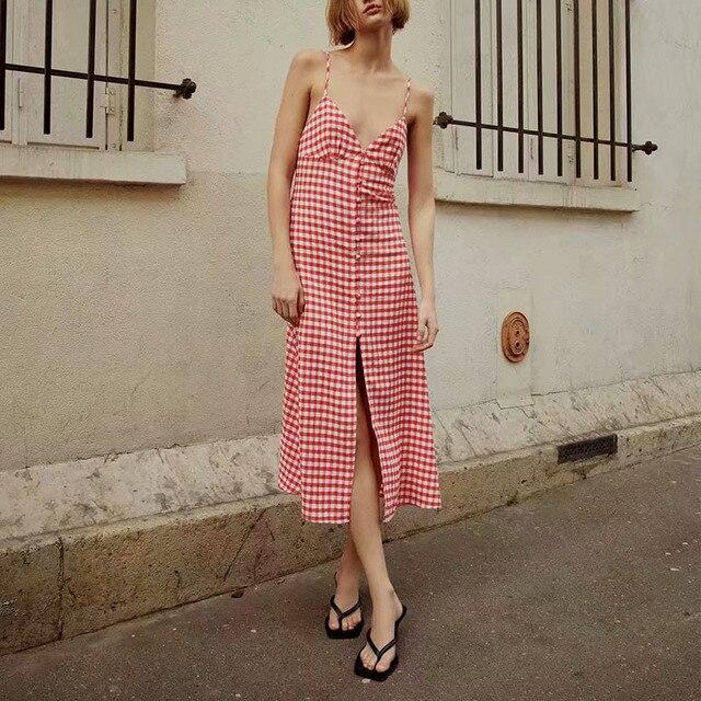 KUMSVAG Women Summer Plaid Dress 2021 Sleeveless Strapless Backless Female Elegant Street Mid-Calf Dresses Vestidos 1