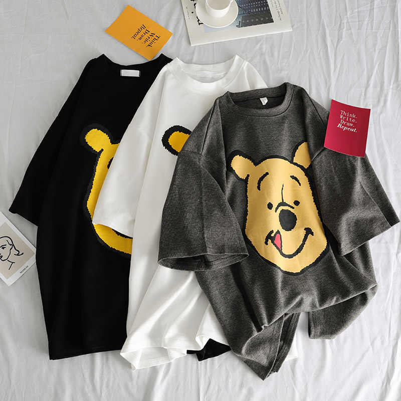 Sommer casual Frauen T-shirts Ulzzang Streetwear kawaii cartoon print T-shirt Korean Stil Tops Harajuku kurzarm t hemd