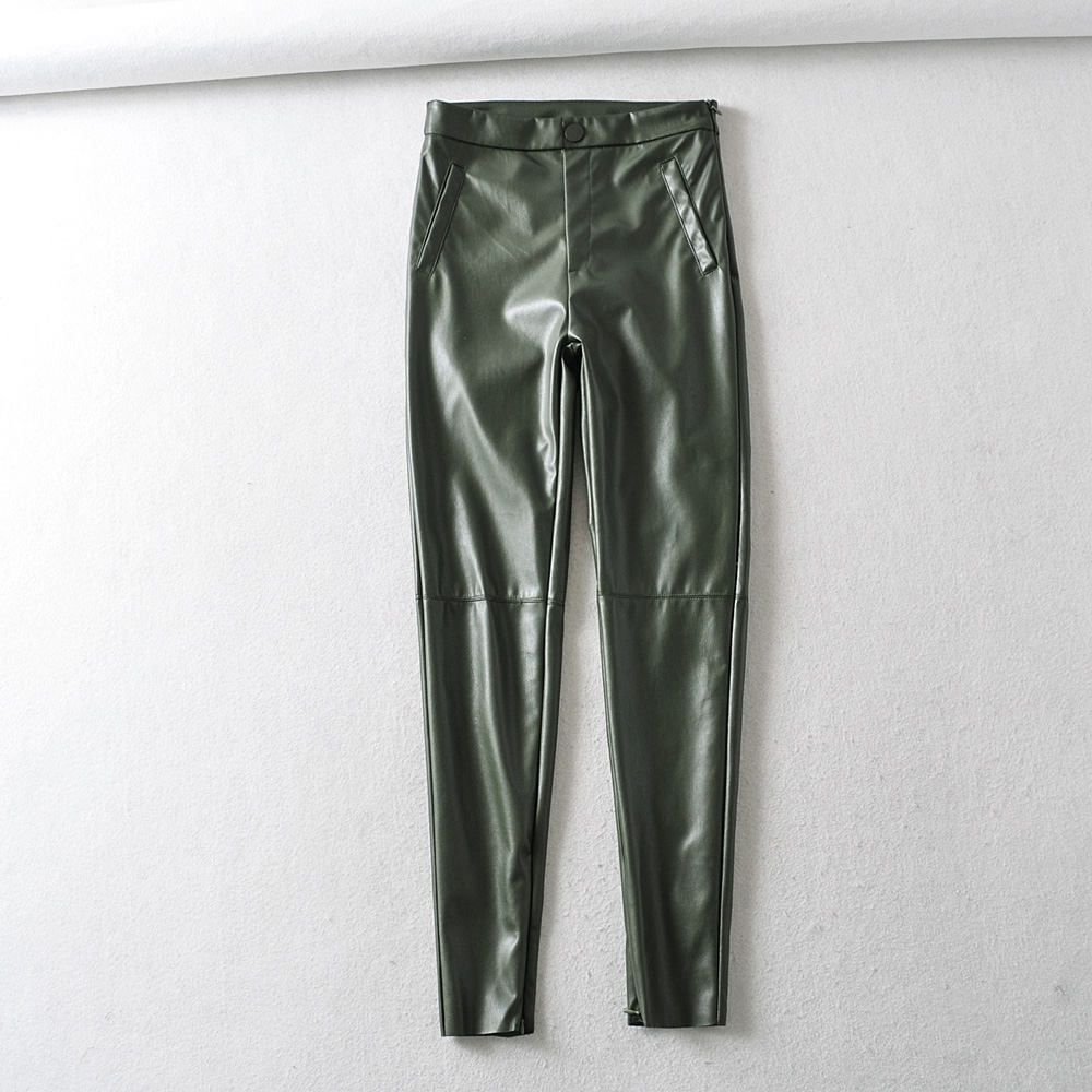 Women Dark Green Faux Leather Suit Pants High Waist Pants Sashes Pockets 2020 Office Ladies Pu Leather Trousers Elegant Pocket