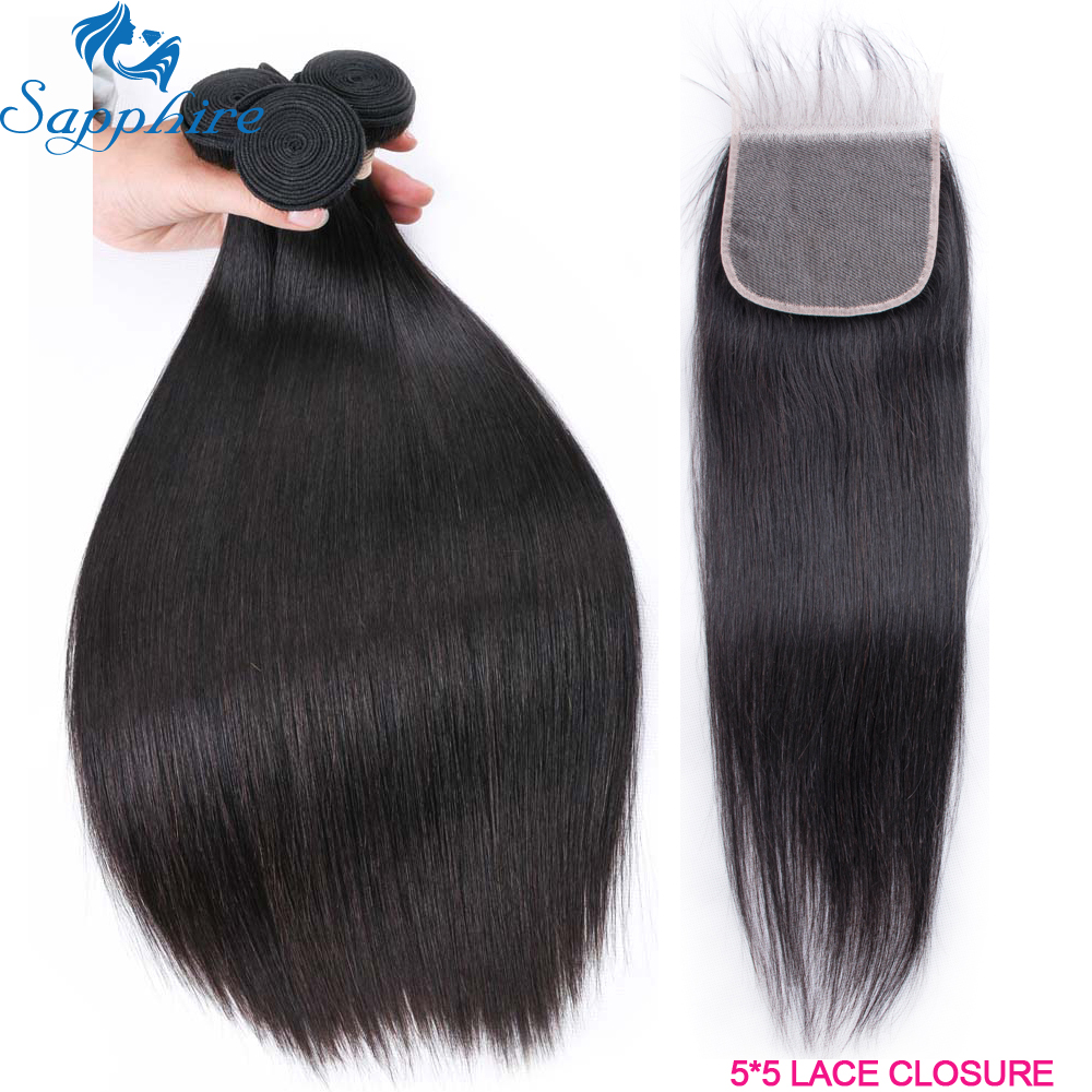 Sapphire Hair Straight Human Hair 3 Bundles With 5x5 Closure Brazilian Hair Weave 3 Bundles Remy Hair Extension Sapphire Hair