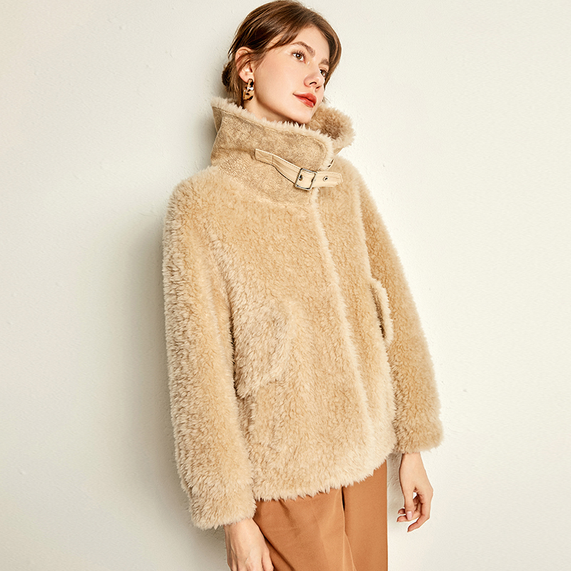Winter 2020 Jacket Women Real Fur Coat Female Lamb Fur 100% Wool Coats And Jackets Women Suede Leather Jacket MY4262 S S
