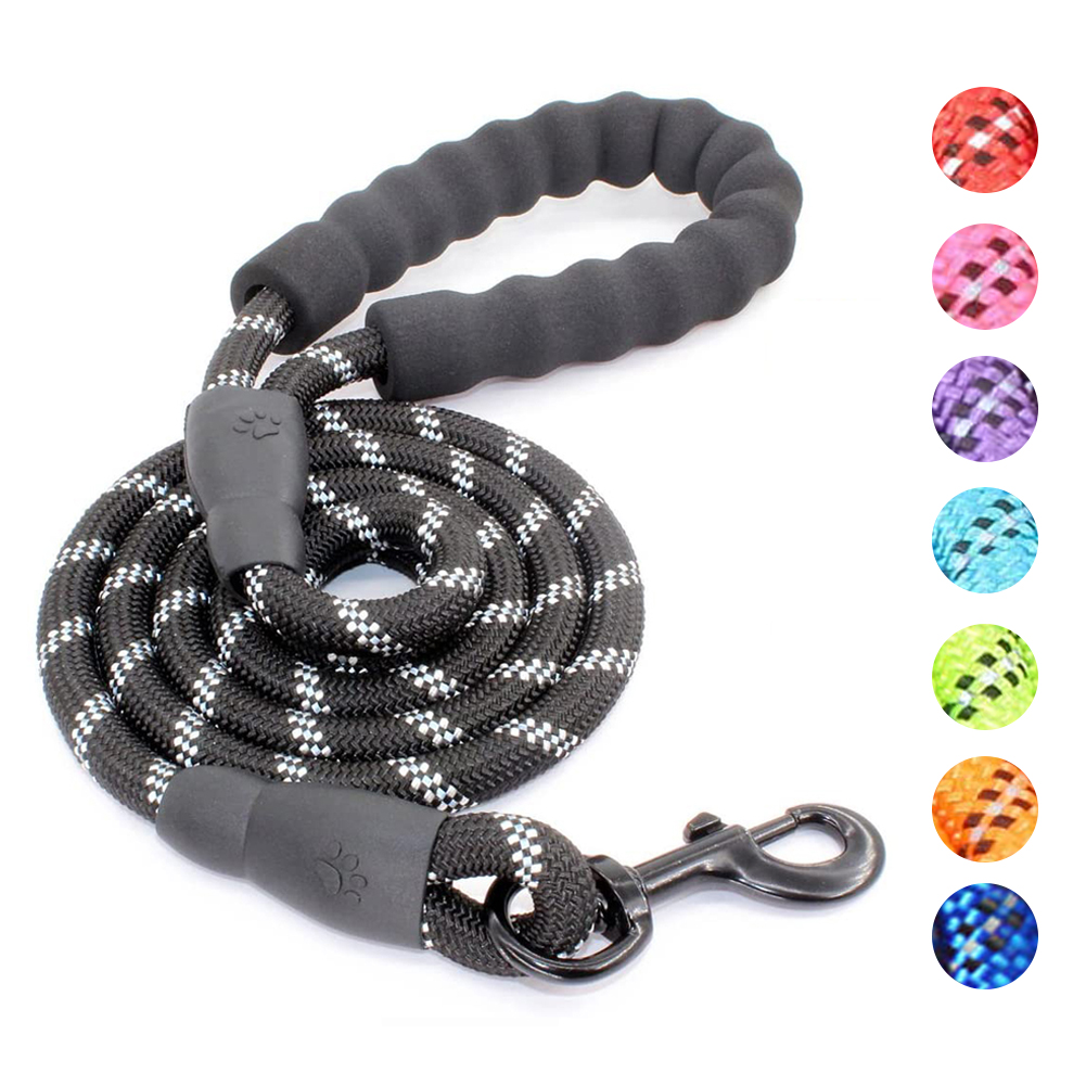 Strong Dog Leash Comfortable Padded Handle Dog Collar Leashes Reflective Threads Large Dogs Rope Leash For Medium Large Dogs