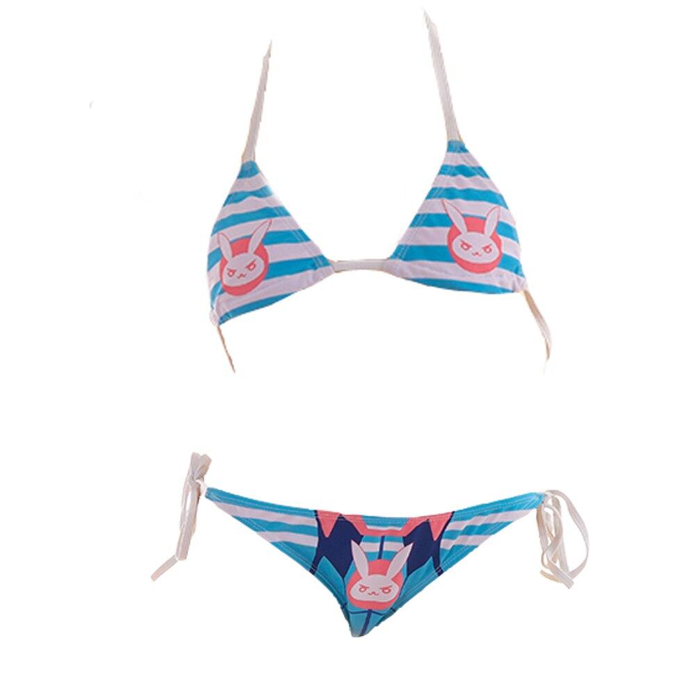 Overwatch Dva cosplay Sexy Cute Micro Bikini D. Go Costumes Japanese Anime Bra and Panty Set Cosplay Thong Bikini Blue Swimsuit 5