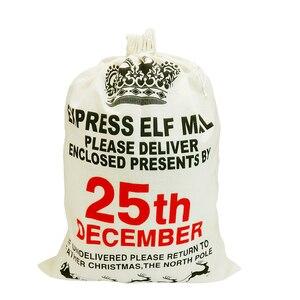 Image 3 - Christmas Gift Bags Sack White Funny Bag Santa Gunny Bags Beautiful pattern Xmas Decoration Father Kids Gift Jute Christmas Bag