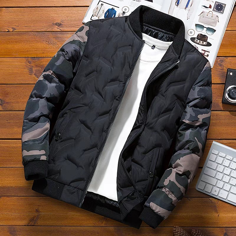 NaranjaSabor Winter Mens Bomber Jacket Warm Windproof Overcoats Male Camouflage Patchwork Fashion Parkas Brand Clothing N633 1