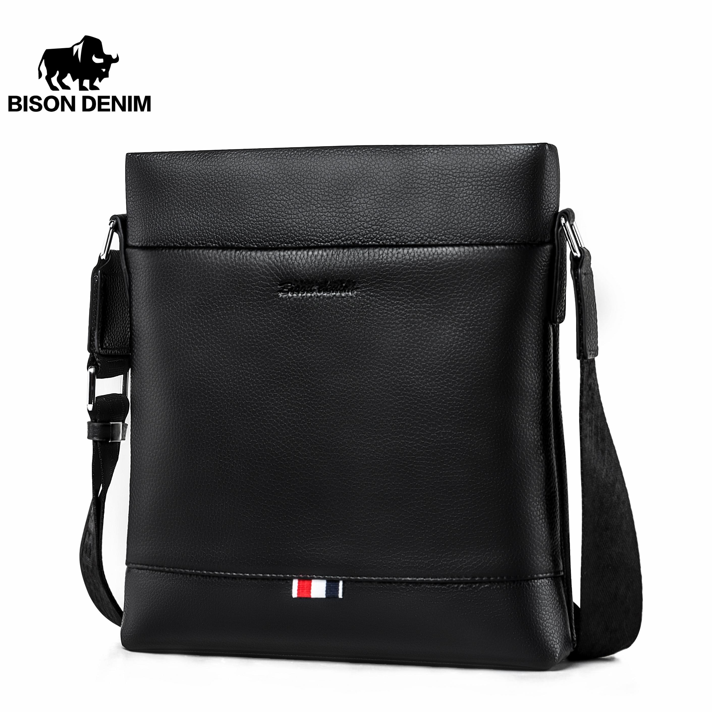 BISON DENIM Genuine Leather Men's shoulder Bag Casual Business Crossbody male Bag iPad Mens Messenger Bag Black bolsas N2821    - AliExpress