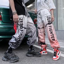 American Style Streetwear Hip Hop Trousers Unisex Jogger Sports Pants Youth Fashion Color Gradient Letter Harem Pants Summer