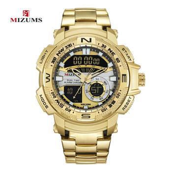 Reloj deportivo LED Mizums para hombre, reloj de pulsera de acero inoxidable dorado militar para hombre con doble pantalla de lujo
